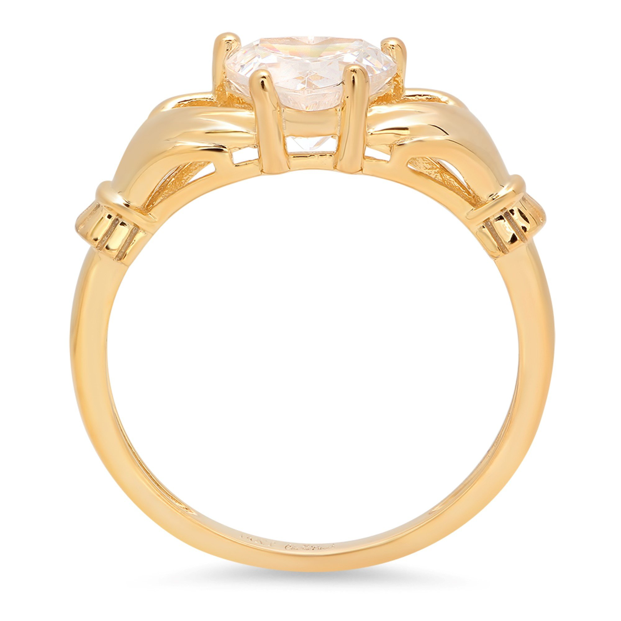 1.45ct Brilliant Heart Cut Irish Celtic Claddagh Solitaire Anniversary Statement Engagement Wedding Promise Ring in Solid 14k Yellow Gold for Women, 9.75 by Clara Pucci (Image #2)