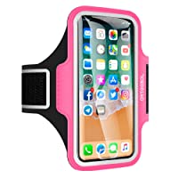 iPhone X Armband, ARTEESOL Sweat Proof Cell Phone Holder 5.2 Inch with Fingerprint Touch for iPhone X/8/7/6/5, Galaxy S7/S6/S4, Note 4, LG, Moto, Phone Pouch for Running Workout (Rose)