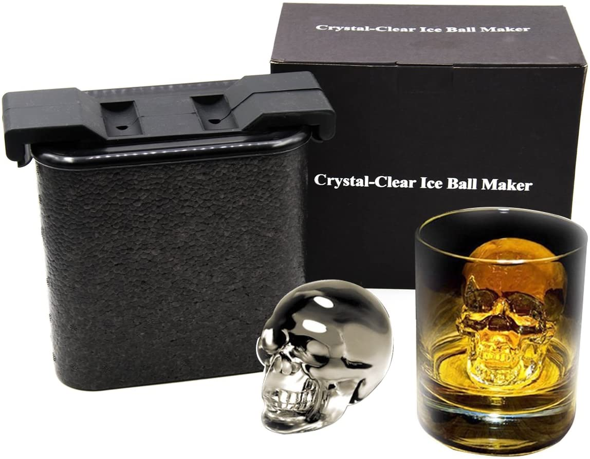 Crystal Clear Ice Cube Maker - Whiskey Ice ball Molds Large Sphere Ice Trays Mold for Whiskey, Cocktail, Brandy, Bourbon(Skull)
