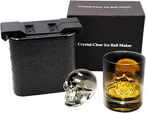 Amazon Com Crystal Clear Ice Cube Maker Whiskey Ice Ball Molds Large Sphere Ice Trays Mold For Whiskey Cocktail Brandy Bourbon Skull Kitchen Dining