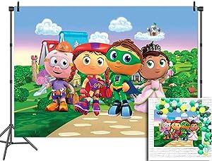 Cartoon Kids Theme Little Princess Backdrops 7x5ft Vinyl Photography Studio Props Backgrounds Cloud Village Party Banner for Baby Show Decor