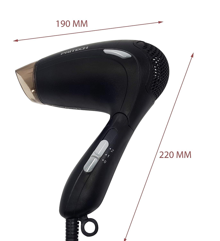 Pritech Secador de pelo de viaje TC-2259 función Ionic, boquilla concentradora de aire, 2 velocidades, perfecto para viaje y para llevarlo a fuera.