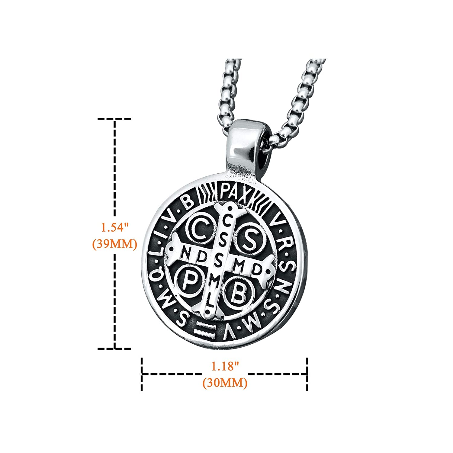 Mens St Benedict Exorcism Pendant Necklace Stainless Steel Catholic Roman Cross Demon Protection Ghost Hunter