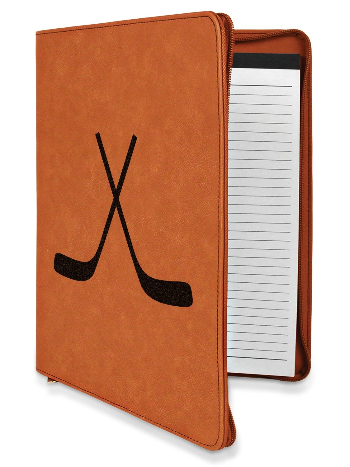 Hockey Leatherette Zipper Portfolio with Notepad - Double Sided (Personalized)