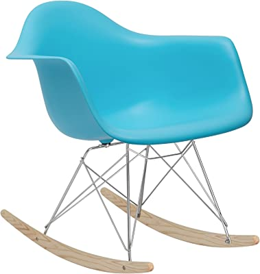 POLY & BARK EM-121-AQU-AMA Rocker Lounge Chair, Aqua