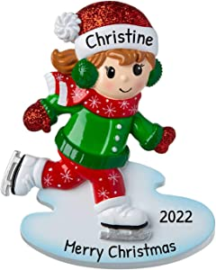 Personalized Ice Skater Christmas Tree Ornament 2020 - Girl Skating Ice Rink Child Sport Active Winter School Hobby Year First Activity Kid Milestone Grand-Daughter Athlete Gift - Free Customization