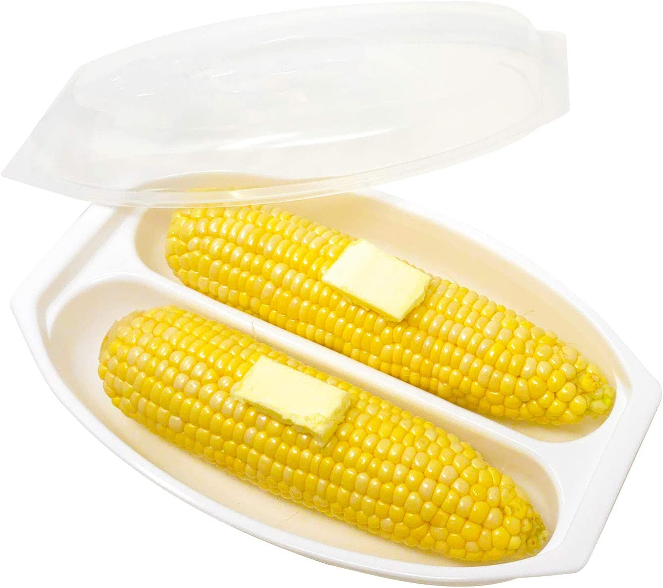 Massca Ultimate Microwave Corn Steamer For Quick & EasyCorn On The Cob| Dual Vegetable Cooker With Vented Lid & Handle | BPA-Free Plastic Veggie Steamer | Dishwasher-Safe | Perfect Gift.