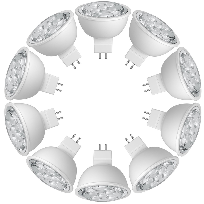 SUNTHIN 10-Pack MR16 LED 6.5-watt (60-Watt Replacement), 2700K (Warm White), 500lm, Spot Light Bulb, UL-Listed, MR16 LED Bulbs, MR16, Non-Dimmable