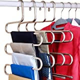 DOIOWN S-Type Stainless Steel Clothes Pants Hangers Closet Storage Organizer for Pants Jeans Scarf Hanging (14.17 x 14.96ins,