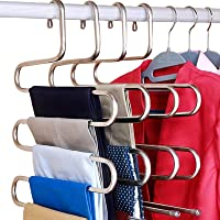 DOIOWN S-Type Stainless Steel Clothes Pants Hangers Closet Storage Organizer for Pants Jeans Scarf Hanging (14.17 x 14…