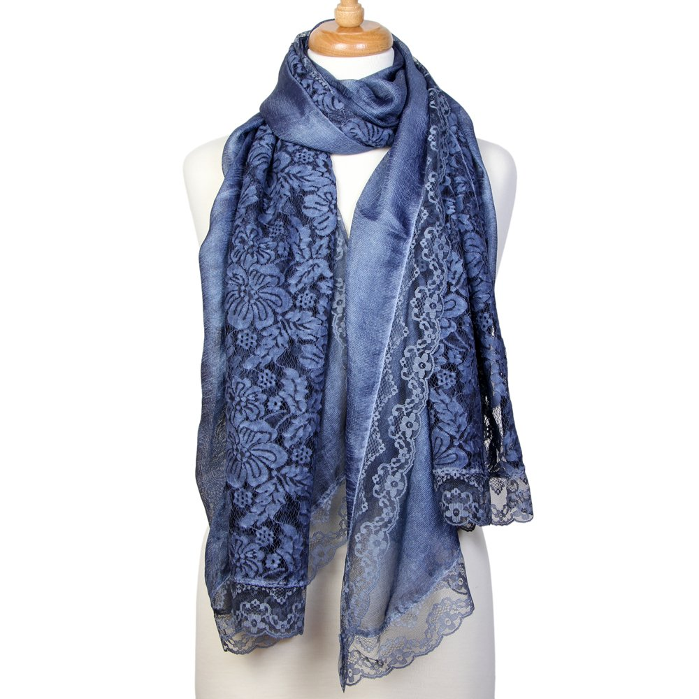 Scarfand's Spring-Summer Floral Print Scarf Wraps (Lace Blue)