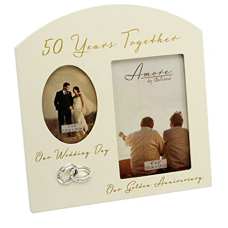 Amore Golden 50th Anniversary Wedding Cream Mdf Double Photo Frame 6