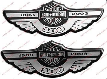 Escudo Logo calcomanía Harley Davidson, centenario 1903–2003, plateado, par de pegatinas resinatas, efecto 3D Para depósito o casco.