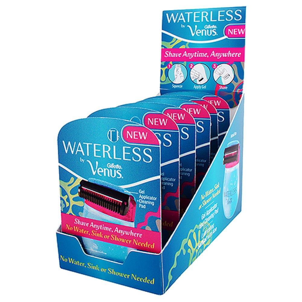 Gillette Venus Waterless Razor with aloe + Display Box - 6 count