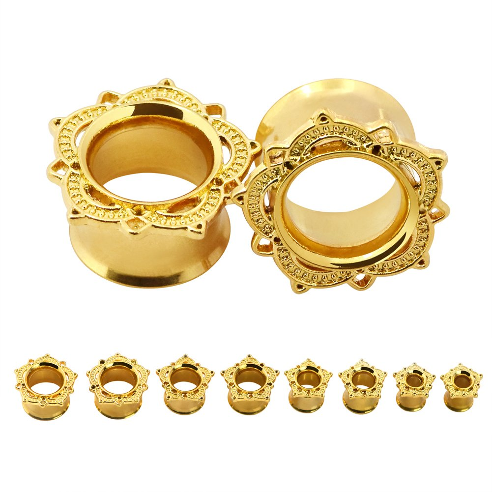 Qmcandy 1 Pair 0g-1''(8-25mm) Stainless Steel Golden Petals Hollow Flesh Tunnels Plug Expander Stretcher Piercing 18MM