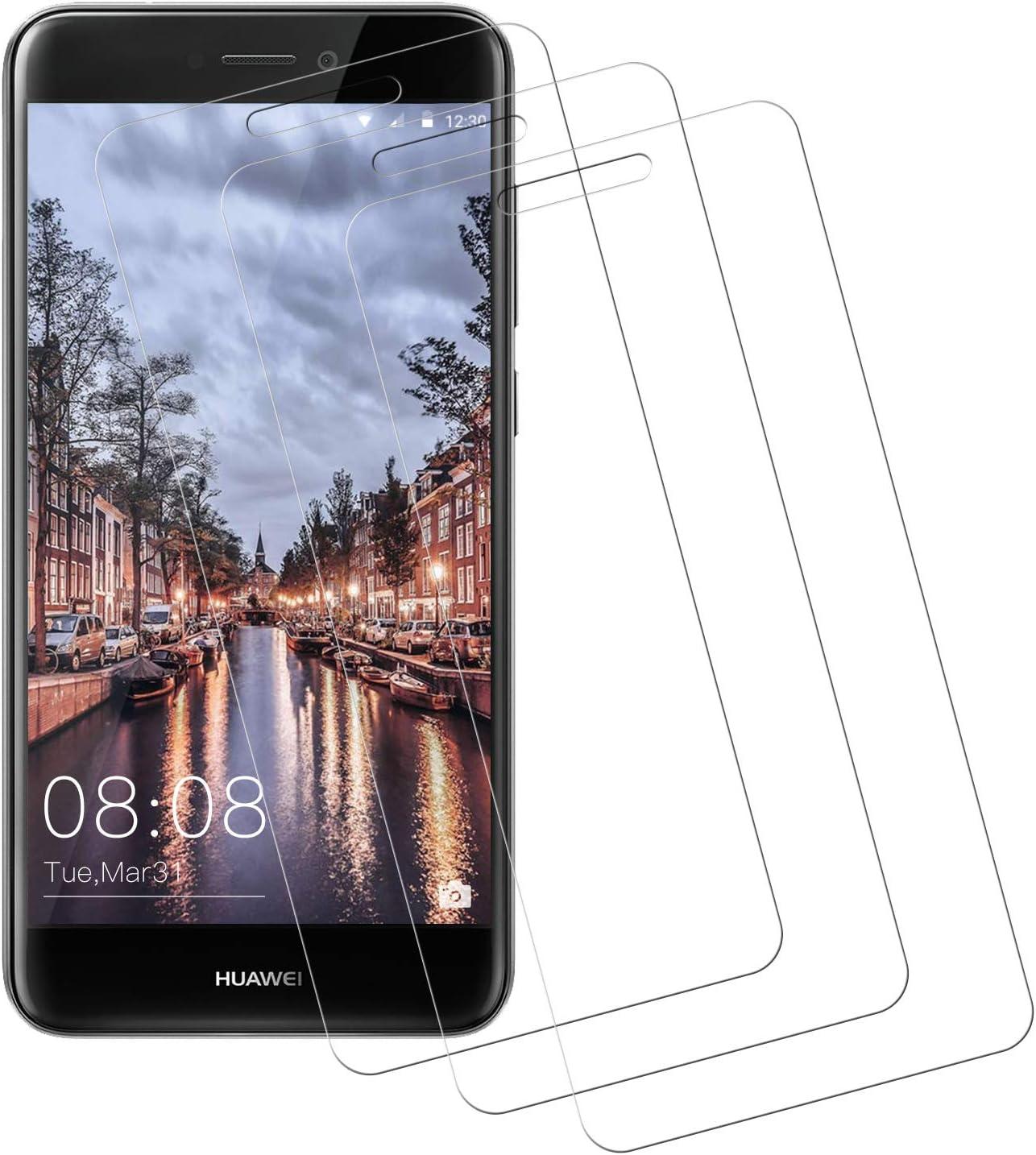 Miuphro Cristal Templado Compatible con Huawei P8 Lite 2017, [3 Piezas] Protector de Huawei P8 Lite 2017, Vidrio Templado con [Alta Definicion] [Anti-Scratch] [9H Dureza]