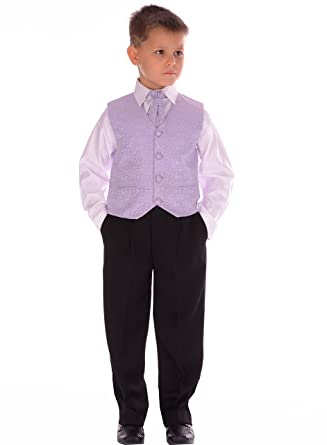 Boys Suits Lilac Scroll Suit Wedding Formal Pageboy Usher 4 Piece ...