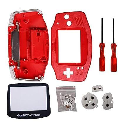 Timorn Reemplazo completo de piezas de Shell Pack para Nintendo Game Boy Advance (rojo)