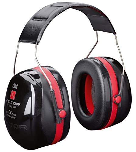 3M Peltor Optime III Earmuffs with Headband, 35 dB, Black/Red | Protection against high noise levels in industrial settings - 1x Peltor ear defender