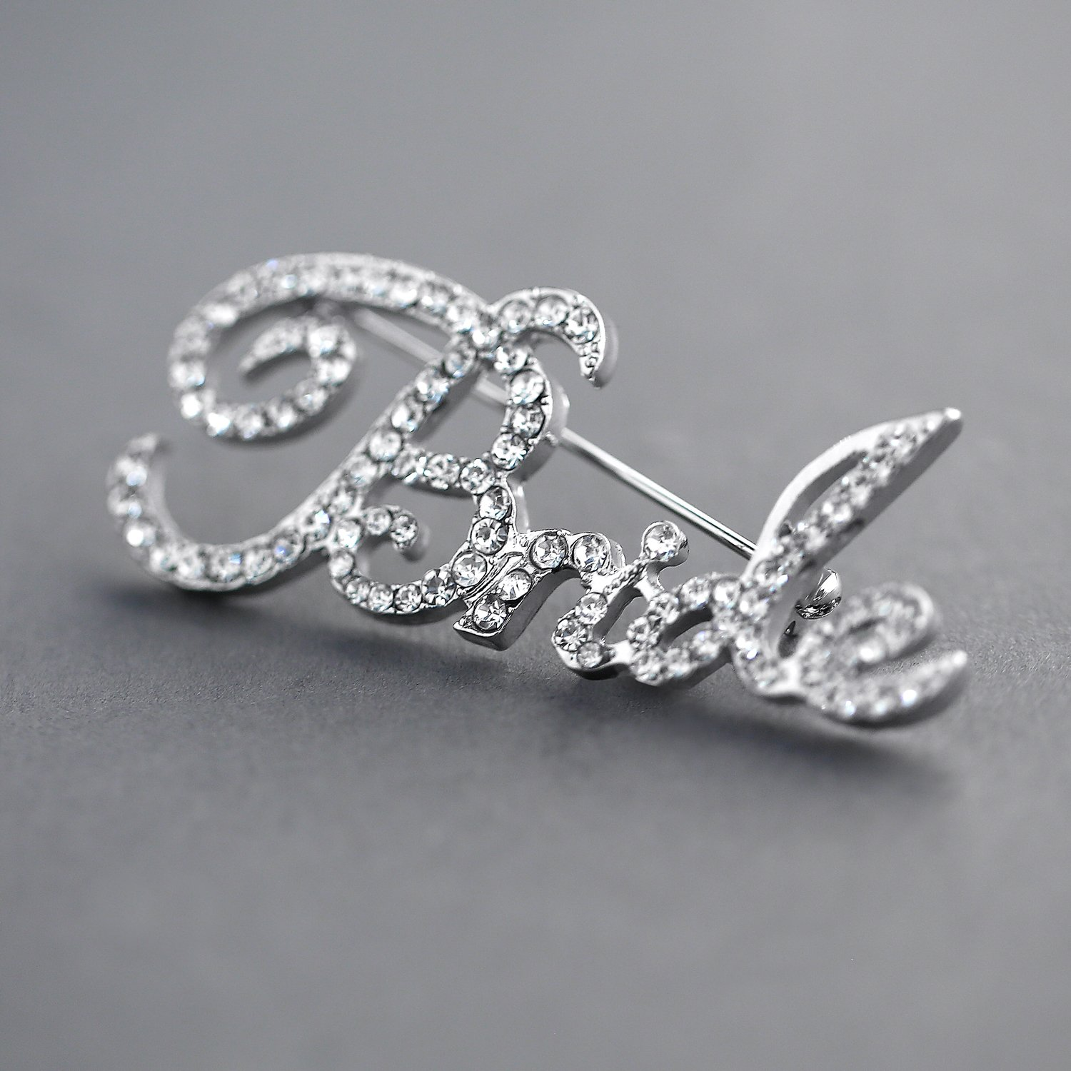 Mariell Crystal Rhinestone Bride Brooch Pin in Script Lettering - Bachelorette & Bridal Shower Gift! by Mariell (Image #5)
