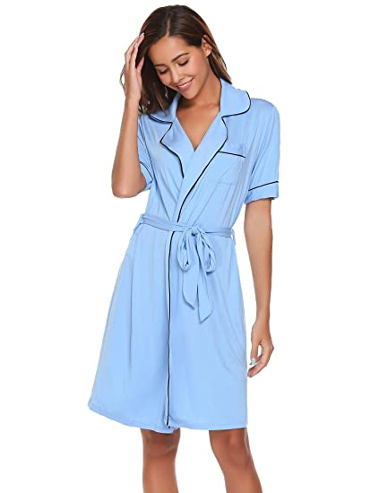 Aimado Ladies Lounge Loose Turn-down Collar Short Sleeve Cotton Nightwear  (Blue 4634ac1c4c5a