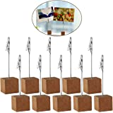 Rosenice 4.5 Inches Wood Tabletop Photo Holders Cube Base Card Note Desk Memo Clips Holder,10pcs