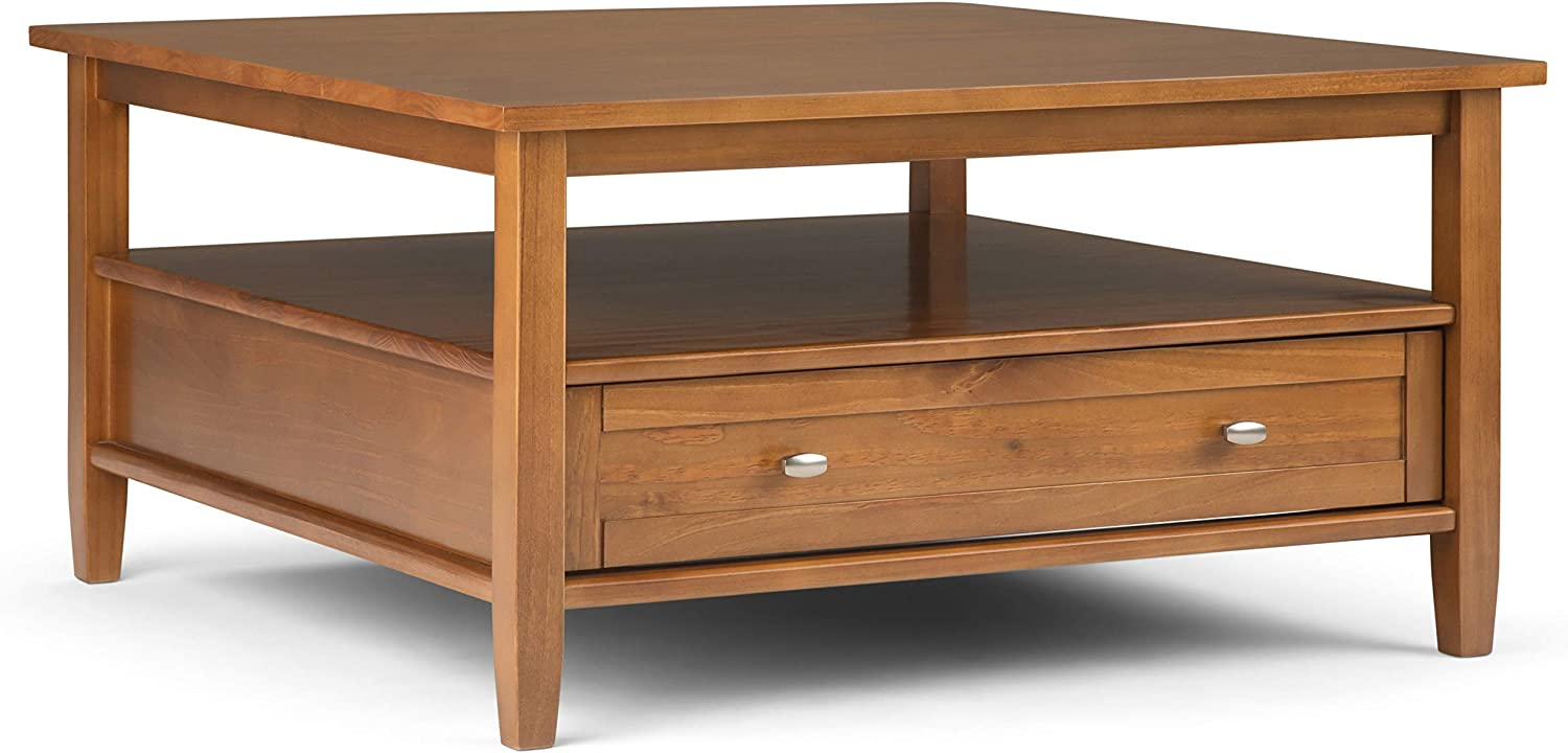 SIMPLIHOME Warm Shaker SOLID WOOD 36 inch Wide Square Rustic Coffee Table in Light Golden Brown, for the Living Room and Family Room