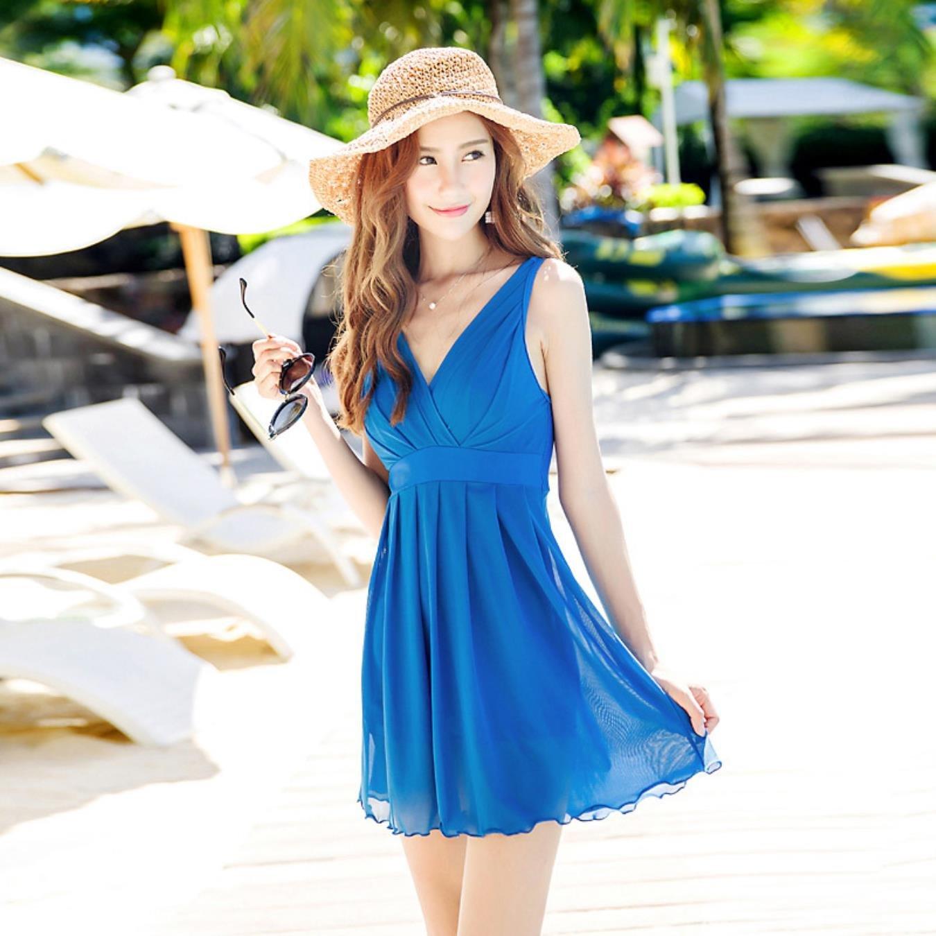 bluee lZdZyCOQ Plus Size Swimwear Women Pool Seaside hot Spring Swimsuits Solid deep vNeck Beach Dress Backless Swim Suit