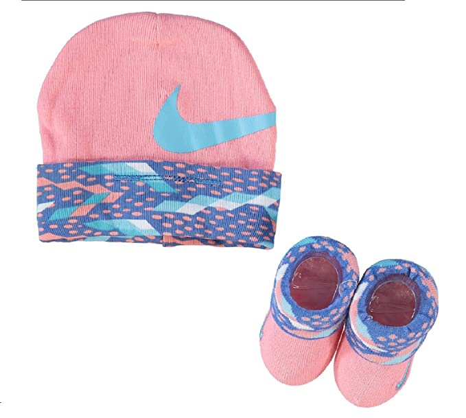 Nike Pink   Blue Hat   Booties Set Official Designer Baby Matching ... e98bda62ea1