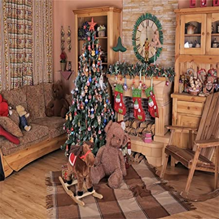 Baocicco Christmas Sled Gifts Wooden Board Backdrop 10x10ft Photography Background Children Toy Bear Doll Hobbyhorse Merry-Go-Round Candle Light Snowflake Snow Field