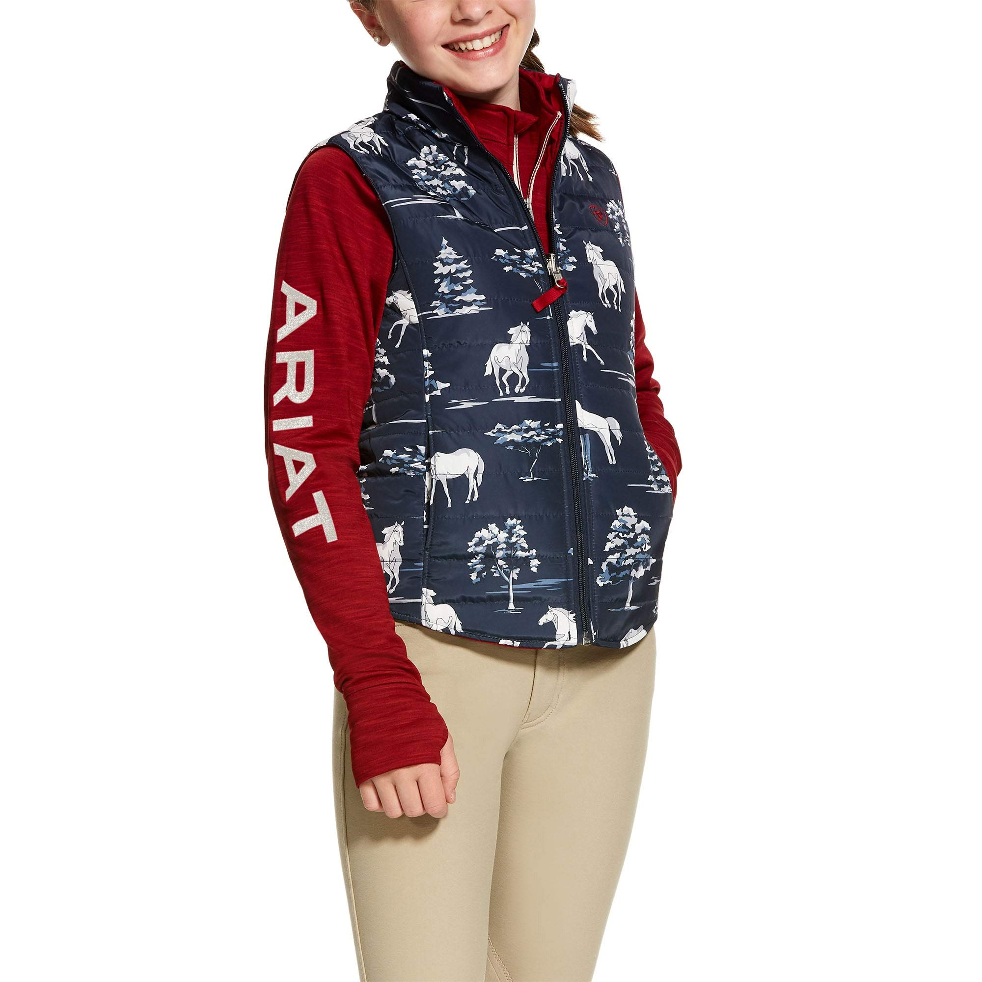 Ariat Kids Emma Reversible Vest Shadow Pasture Print by ARIAT