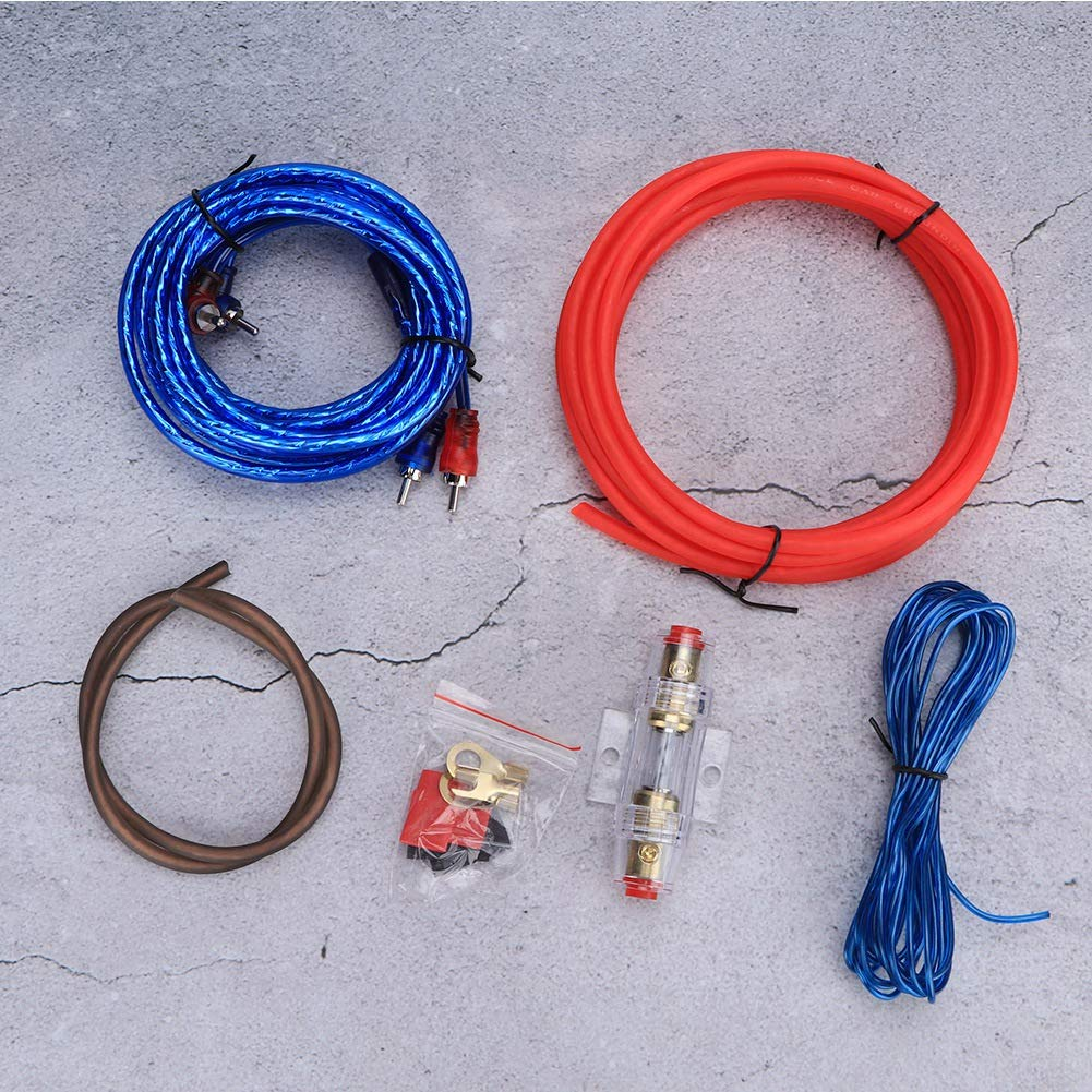 Qii lu Cable de amplificador de potencia coche 10GA Amplificador de potencia Subwoofer Altavoces de audio Reemplazo de kit de cables de aleaci/ón de zinc