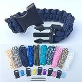 Bliqniq 22pcs DIY Corde Parachute Paracord Set Bracelet de Survie 10 paracordes /10 boucles de paracorde /2 aiguilles en acier inoxydable