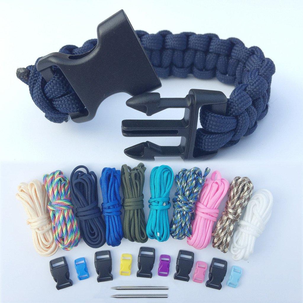 Paracord braccialetto kit, Bliqniq 25pcs parachute corde Survival Kit Starter di fuoco Whistle 10 nodi per Paracord/ 2 aghi da produzione per Paracord in Acciaio INOX per camminare campeggio emergenza P2001