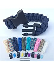 Paracord braccialetto kit, Bliqniq 25pcs parachute corde Survival Kit Starter di fuoco Whistle 10 nodi per Paracord/ 2 aghi da produzione per Paracord in Acciaio INOX per camminare campeggio emergenza