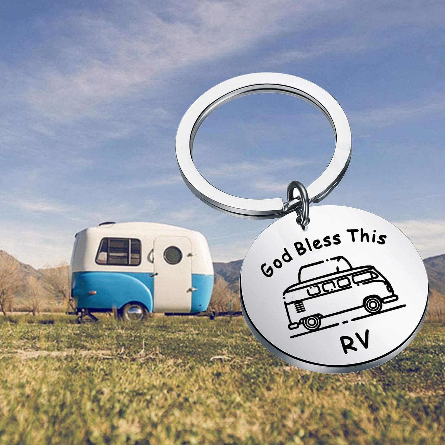 PENQI Happy Camper Keychain Camping Gift Camper Vacation Jewelry God Bless This RV Keychain Driver Safe Keychain Traveller Gift for Camper Lover