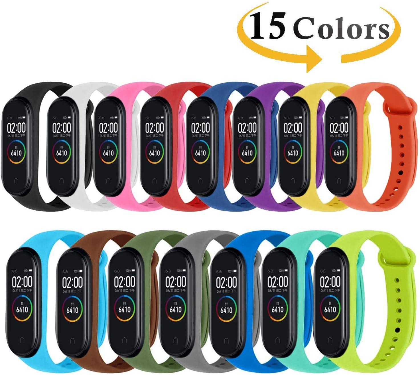 Monuary 15 Piezas Correa para Xiaomi Mi Smart Band 4 / Mi Band 3 Pulsera, Silicona Reloj de Recambio Brazalete Coloridos Correas para Xiaomi Mi Band 3/4 [Compatible con Mi Smart Band 4]