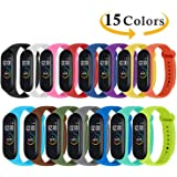 Monuary 15 Pieces Straps for Xiaomi Mi Smart Band 4/Mi Band 3, Colourful Replacement Bracelet in Anti-Lost Silicone Designed Fitness Tracker Accessories [Compatible with Xiaomi Mi Band 4]