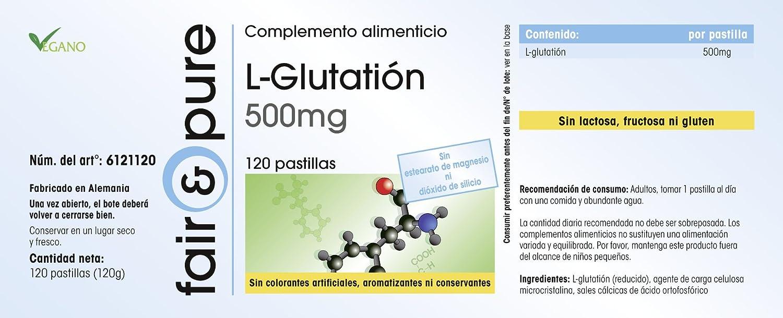 L-Glutatión 500mg - Fair&Pure - Fabricado en Alemania -120 comprimidos - forma reducida: Amazon.es: Salud y cuidado personal