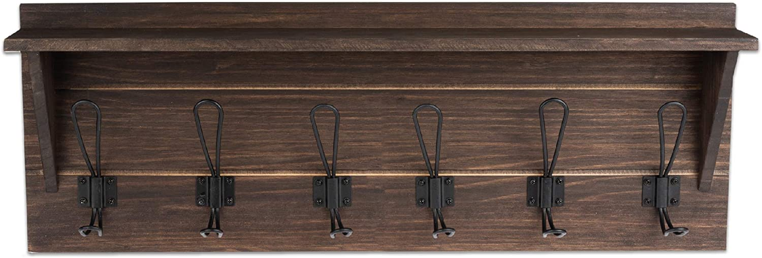 Amazon Com Wall Mounted Coat Rack With Shelf 27 Inch Rustic Wooden 6 Hook Coat Hanger Rail Espresso Wood Black Metal Hooks Home Improvement