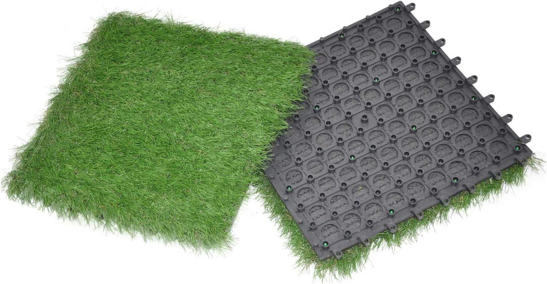 GOLDEN MOON Artificial Grass Turf Tile Interlocking Self-draining Grass Tiles Mat, 1x1 ft, 1.5 in Pile Height, 15 Pack