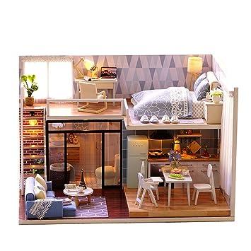 Xlordx Diy Puppenstube Handgefertigt Holz Modell Set Mobliert Zimmer