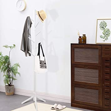 New Years Gifts Coat Hat Tree Stand,Multi-Hook Metal Coat Hat Rack Tree Stand Clothes Bag Hanger Organizer for Home Bedroom White