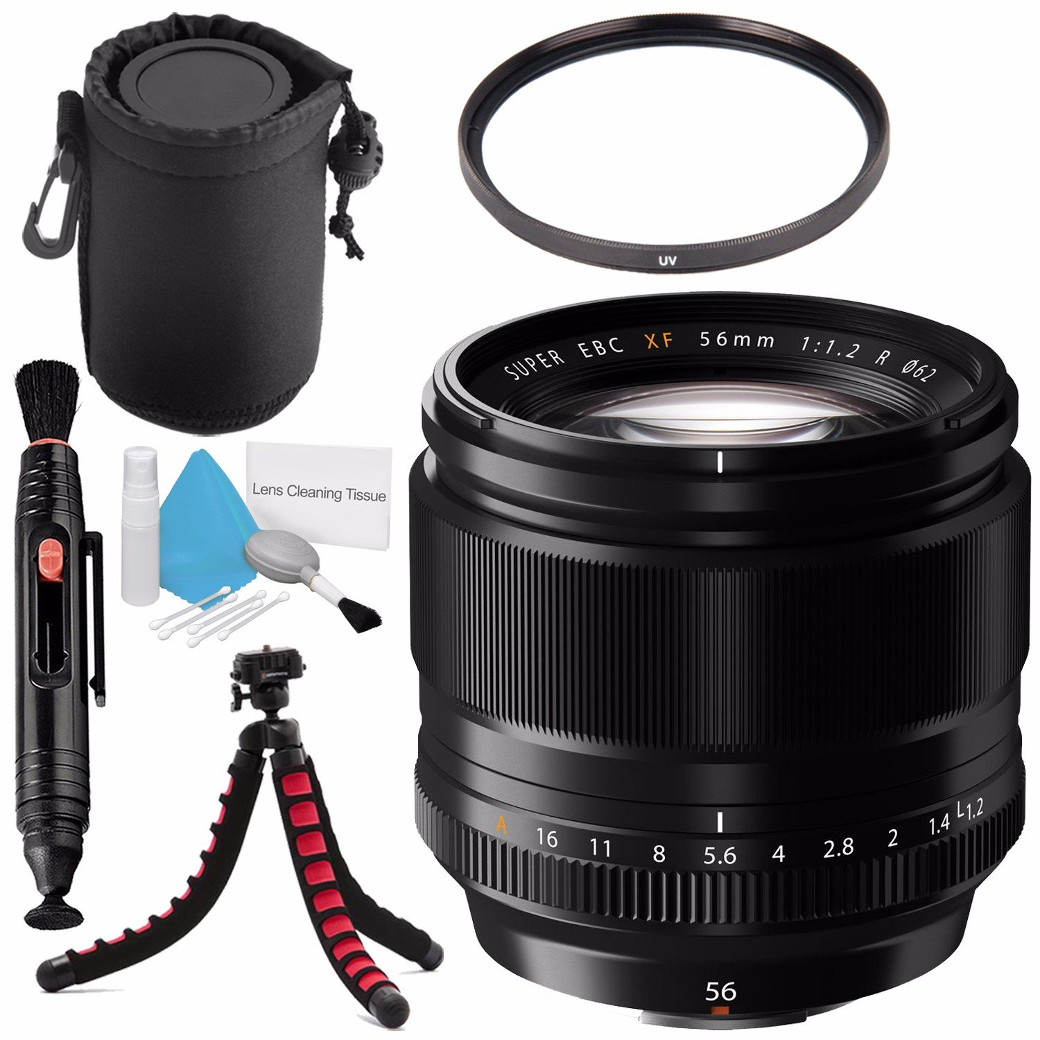 Fujifilm Xf 56mm F 12 R Lens 16418649 62mm Uv Filter Fujinon Xf56mm Apd Deluxe Cleaning Kit Pouch Pen Cleaner Flexible Tripod Bundle Camera