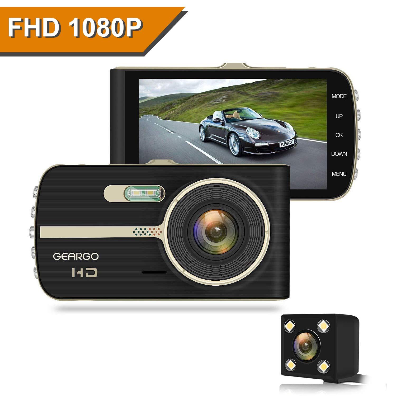 "GEARGO Dashcam Full HD 1080P Dual Lens C/ámara para Coche G-Sensor Detecci/ón de Movimiento Grabaci/ón en Bucle con Visi/ón Noctura WDR 4/""LCD Pantalla C/ámara de Coche"