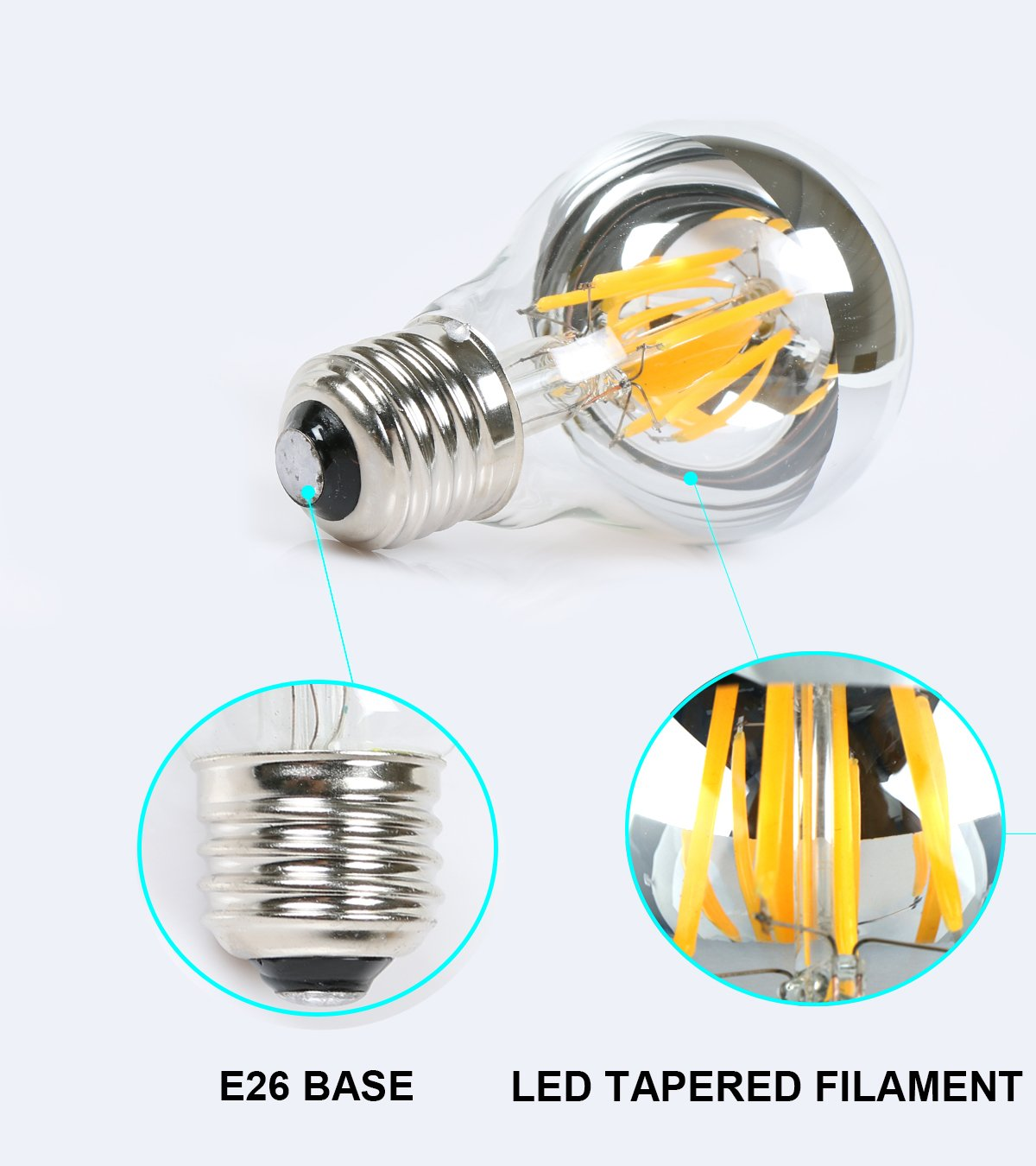 TOP YAO 6w A60 E26 Based LED Filament Vintage Dimmable Bulb with Mirror Half Chrome Silver Globe Shape Bulb Energy Saving 2700k Warm White