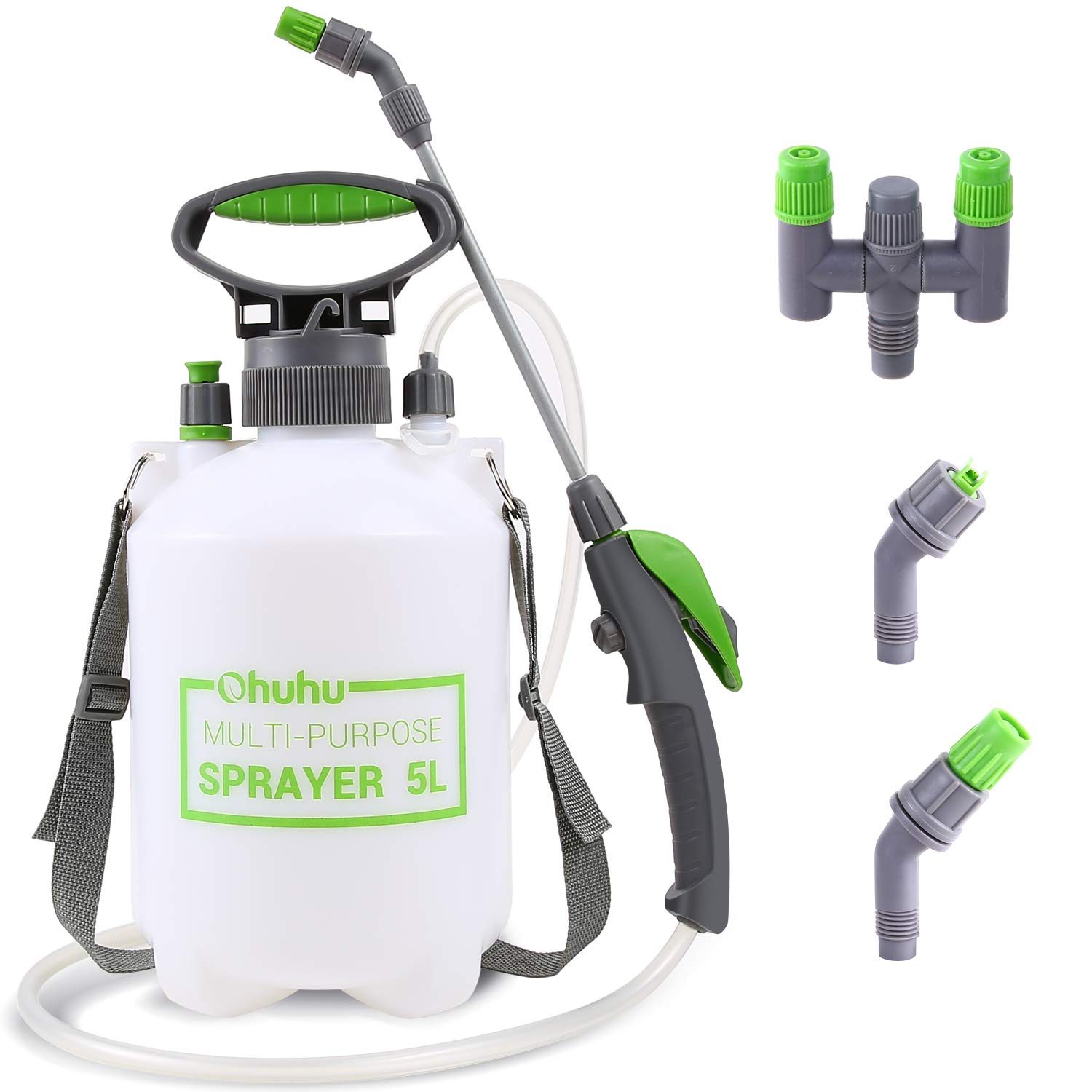 Ohuhu 1.3 Gallon/5L Lawn and Garden Pump Pressure Sprayer with 2 Different Nozzles, Pressure Relief Valve & Adjustable Shoulder Strap for Fertilizers, Mild, Solvent-Free Solutions