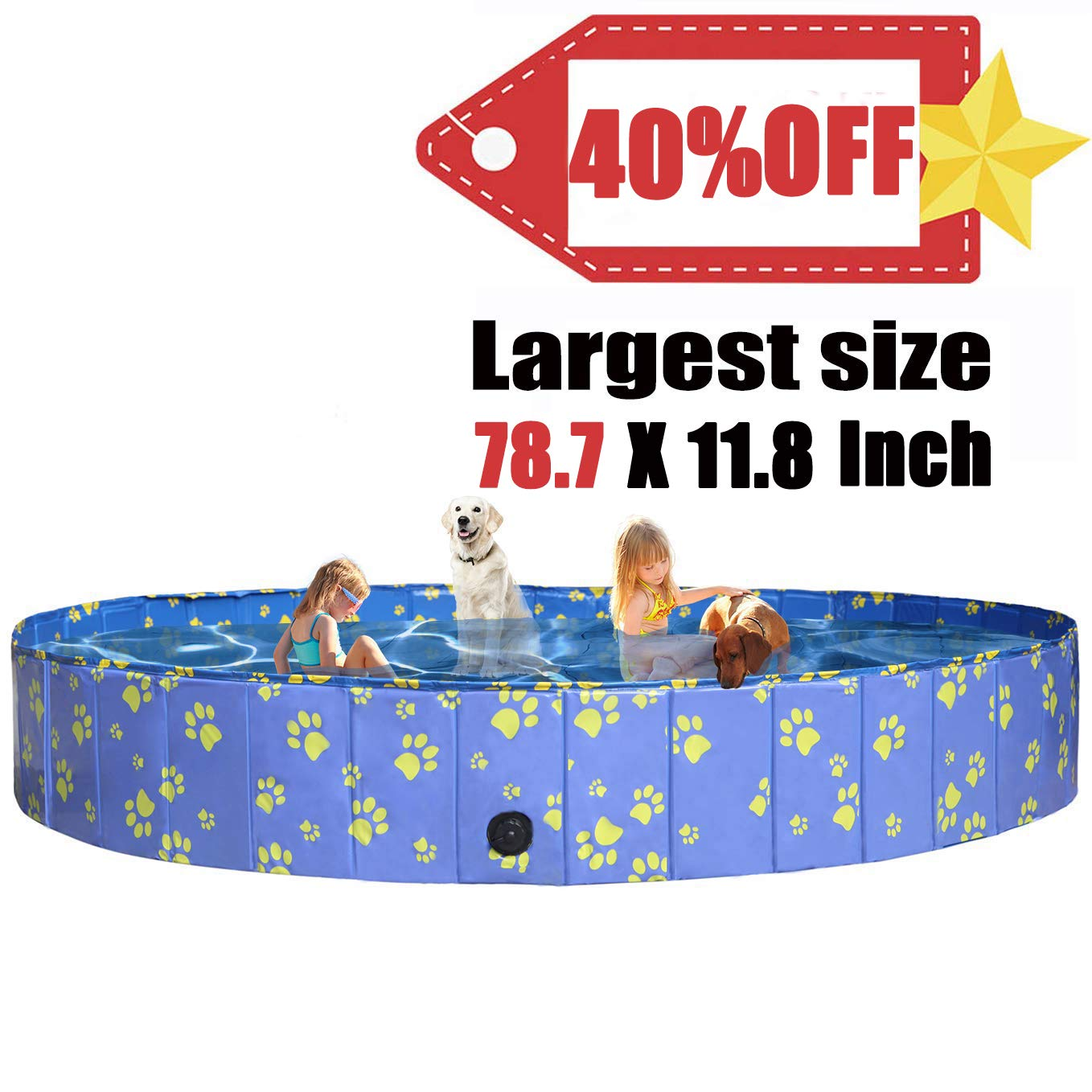 Pro Goleem Foldable Dog Pool Collapsible Bath Tub for Dogs and Kids by Pro Goleem
