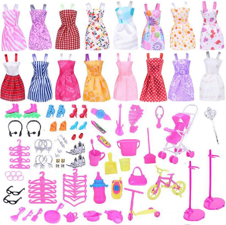 Ouinne 114 Pieces Accessoires de Poup/ée avec 16 V/êtements Robes livr/és Al/éatoire et 98 Accessoires Chaussures Collier Cintres Accessoires De Nettoyer