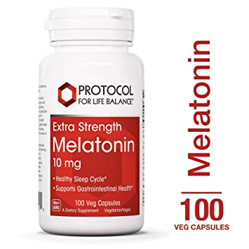 Protocol For Life Balance - Melatonin 10 mg Extra Strength - Supports Gastrointestinal Health,...